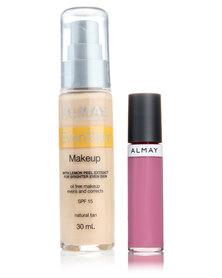 Almay EvenSkin Makeup Natural Tan and Free Lipgloss Blooming Balm