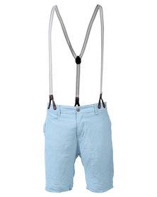 Armita Brad Burns Bermuda Shorts With Suspenders Light Blue