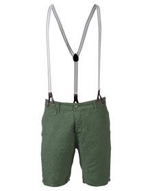 Armita Brad Burns Bermuda Shorts With Suspenders Green