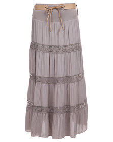 Assuili Belted Maxi Skirt Taupe