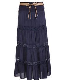 Assuili Belted Maxi Skirt Navy Blue