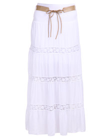 Assuili Belted Maxi Skirt White
