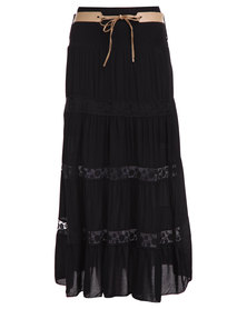 Assuili Belted Maxi Skirt Black