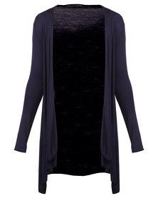 Assuili Longer Length Cardigan Navy Blue