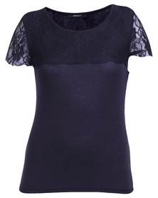 Assuili Top with Lace Sleeve Navy Blue