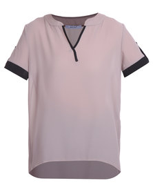 Assuili Longer Length Top Beige/Black