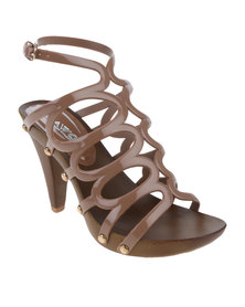 AWOL Platform Cage Heel With Ankle Strap Toffee