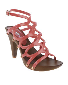 AWOL Platform Cage Heel With Ankle Strap Guava