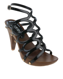 AWOL Platform Cage Heel With Ankle Strap Black