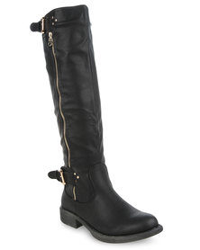 AWOL Belted Knee High Boots Black