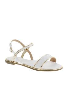 AWOL Gold Trim Sandal White