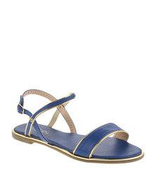 AWOL Gold Trim Sandal Blue