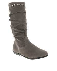 AWOL Ruched Mid Calf Boot Grey