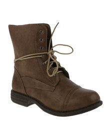 AWOL Two Toned Combat Boot Brown