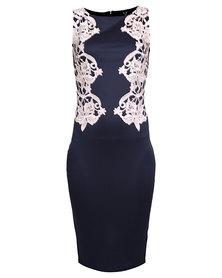 AX Paris Crochet Contrast Lace Dress Navy