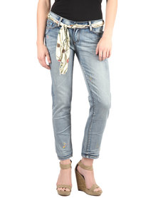 B Insane Scarf Chain Trim Skinny Jeans Blue