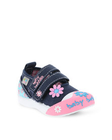 Baby Bubbles Floral Canvas Sneakers with Strap Blue