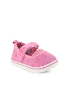 Baby Bubbles Pink Canvas Ballerina Pumps with Strap