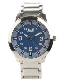 Bad Boy Premium Blue Dial Steel Alloy Watch Silver