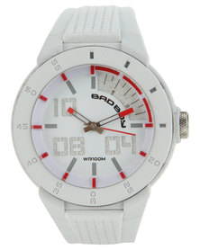 Bad Boy Round Dial Bevel Detail Watch White