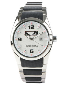 Bad Boy White Dial Watch and Bracelet Set Silver-Tone