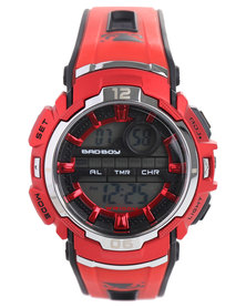 Bad Boy Digital Red Silicone Strap Watch