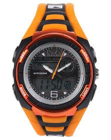 Bad Boy Analogue-Digital Colour Block Watch Orange