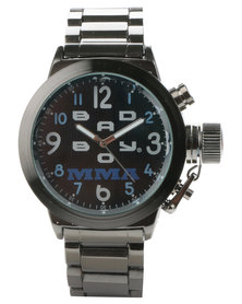 Bad Boy Tank Round Dial Steel Alloy Watch Gunmetal