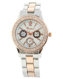 Bad Girl Two Tone Heart Bracelet and Watch Set Multi