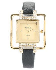 Bad Girl Diamante Gold Cube Watch Black