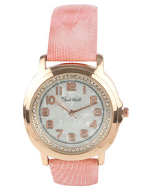 Bad Girl Paradise Diamante Dial Watch Rose Gold-tone