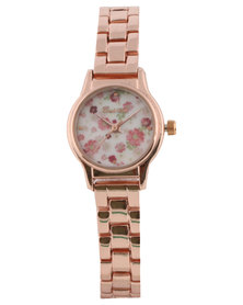 Bad Girl Million Floral Ladies Watch Rose Gold-Tone