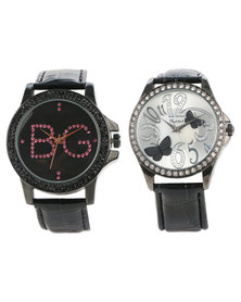 Bad Girl Butterfly and Fatale Watch Set Black