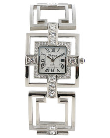 Bad Girl Pizzazz Square Dial Cage Strap Watch Silver-Tone