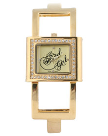 Bad Girl Glam Square Dial Watch Gold-Tone