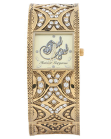 Bad Girl Jewel Square Dial Watch Gold-Tone