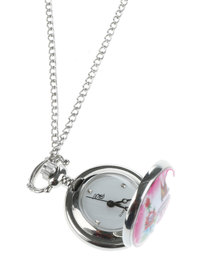 Bad Girl Funky Pendant Necklace Watch Silver-Tone