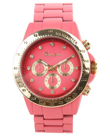 Bad Girl Dial Detail Powder Coated Alloy Strap Watch Coral