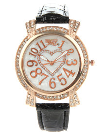 Bad Girl Rose Gold Bling Heart Leatherette Strap Watch Black