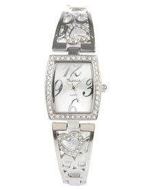 Bad Girl Diamante Heart Watch Silver