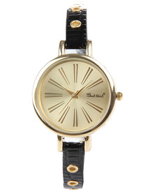 Bad Girl Eyelet Strap Watch Gold