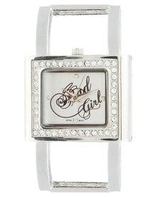 Bad Girl Square Diamante Dial Watch Silver-Tone
