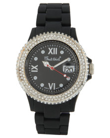 Bad Girl Diamante Dial Silicone Strap Watch Black