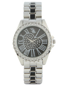 Bad Girl Two Tone Heart Dial Watch Silver