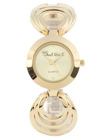 Bad Girl Round Dial Circle Bracelet Watch Gold