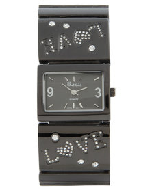 Bad Girl Square Dial Love Watch Black