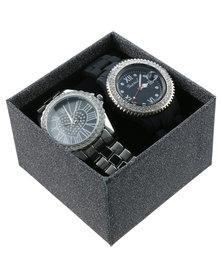 Bad Girl Diamante Dial Two Tone Watch Set Black