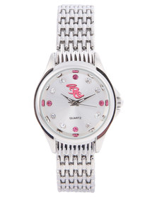 Bad Girl Pink and Silver Diamante Trim Watch