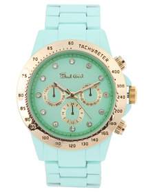 Bad Girl Dial Detail Powder Coated Alloy Strap Watch Green