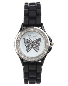 Bad Girl Butterfly Bling Watch Black